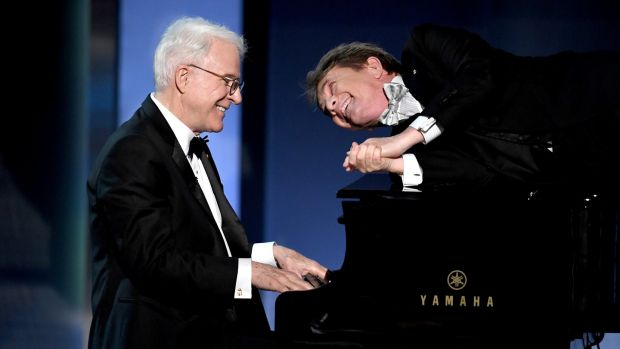 Actors Steve Martin and Martin Short perform onstage at Dolby Theatre in 2017 in Hollywood, California. Photograph: Kevin Winter/Getty