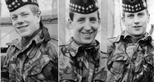 Three British soldiers John McCaig 17 (L) his brother Joseph, 18 (R) and Dougald McCaughey (23) had been drinking in a Belfast city centre pub when they were lured to their deaths by the IRA. Photograph: PA