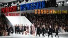 Statements including Women Raise The Uprising, We Are All Clitoridian Women, and Consent, adorned the hall for the Dior show at Paris Fashion Week on Tuesday. Photograph: Anne-Christine Poujoulat/AFP/Getty Images