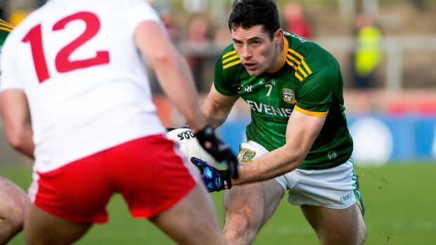 Meath's Donal Keogan in action against Darren McCurry of Tyrone in their Allianz Football League Division One match at Healy Park, Omagh on January 26th. Photograph: Evan Logan