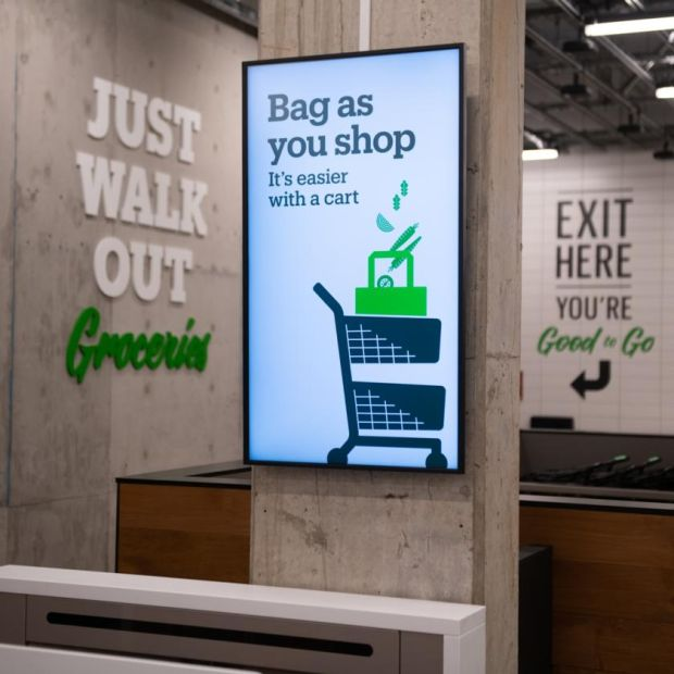 Amazon Go Grocery. Photograph: Chona Kasinger/Bloomberg