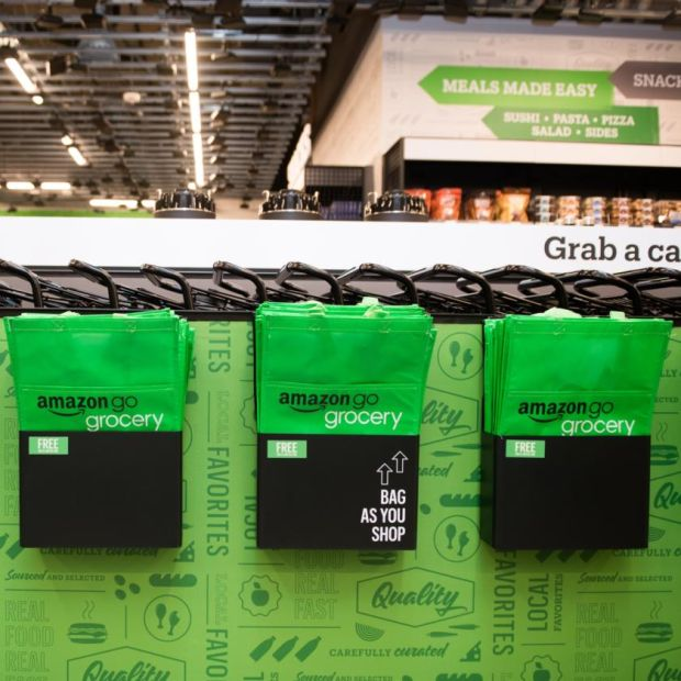 Amazon Go Grocery: bags and trolleys at the store. Photograph: Chona Kasinger/Bloomberg