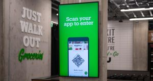 Amazon Go Grocery: customers scan an app to enter. Photograph: Chona Kasinger/Bloomberg