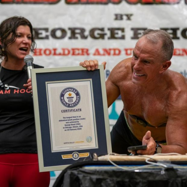 World record: George Hood held his plank for 8hr, 15min, 15sec. Photograph: Josef Holic