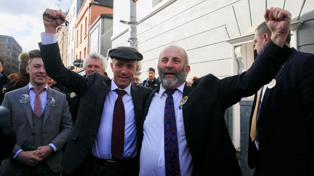 Michael Healy Rae and Danny Healy Rae attend the first meeting of the 33rd Dáil at Leinster House last week. Both are members of the rural Independent group of TDs. File photograph: Gareth Chaney/Collins