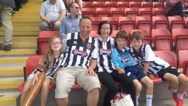Peter Anderson with his wife Louise and kids, Elizabeth, Jamie and Sean at a Grimsby match.