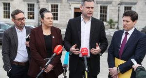 Left to right are Sinn Féin TDs Eoin Ó Broin, Louise O'Reilly, Pearse Doherty and Matt Carthy, speaking to media at Leinster House in Dublin on Wednesday. Photograph: Brian Lawless/PA Wire
