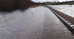 The Sligo railway line between Dromod and Carrick on Shannon pictured on Tuesday. Photograph: Iarnród Éireann