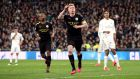 Manchester City's Kevin De Bruyne celebrates scoring his side's winner against Real Madrid. Photograph: Nick Potts/PA