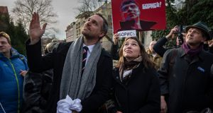 Zhanna Nemtsova, daughter of Boris Nemtsov, and Prague's mayor Zdenek Hrib during the official event of renaming the square where the Russian embassy is placed after the murdered Russian opposition leader Boris Nemtsov on the 5th anniversary of his assassination on February 27th, 2020. Photograph: Gabriel Kuchta/Getty