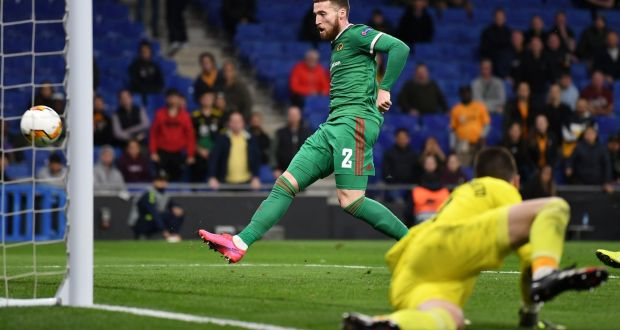 Matt Doherty of Wolverhampton Wanderers scores his team's second goal during the Uefa Europa League round of 32 second leg match against Espanyol. Photo: David Ramos/Getty Images