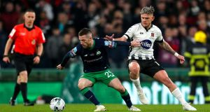 Jack Byrne of Shamrock Rovers and Dundalk's Sean Murray in action at the FAI Cup Final at the Aviva Stadium on November 3rd, 2019. Photograph: Oisin Keniry/Inpho