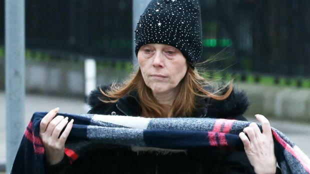 Louise O'Connor is pictured arriving at the Central Criminal Court during the trial over her mother's murder. Photograph: Collins Courts.