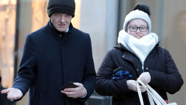 Keith Johnston (43) and Stephanie O'Connor (22) are pictured leaving the Criminal Courts of Justice (CCJ) during their trial. Photograph: Collins