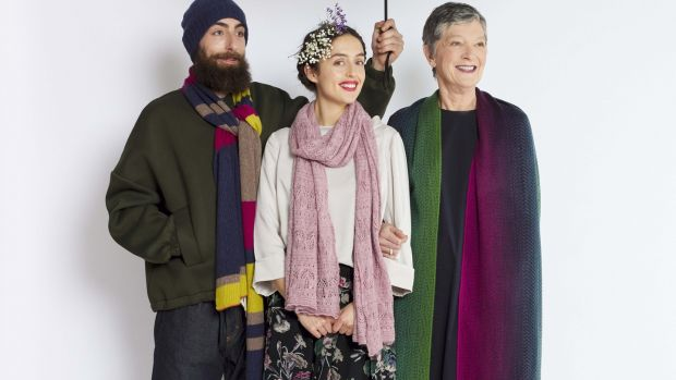 Spirit 100 per cent wool scarf €79; Olympia 100 per cent alpaca scarf €89; and Cosmo 100 per cent wool wove scarf €95.