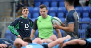 Johnny Sexton in action during the Ireland open training session at Donnybrook on Friday. Photograph:   Dan Sheridan/Inpho