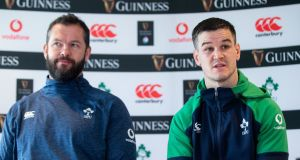 Ireland head coach Andy Farrell and captain Johnny Sexton at the Ireland Rugby press conference in Energia Park, Donnybrook on Friday: 'There are a lot of ifs, buts and maybes.' Photograph: Tommy Dickson