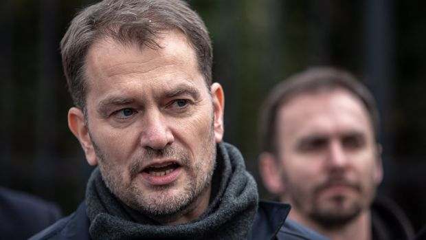 Leader of the Olano party Igor Matovic talks to media in front of the government office building in Bratislava on Friday. Photograph: Martin Divisek/EPA