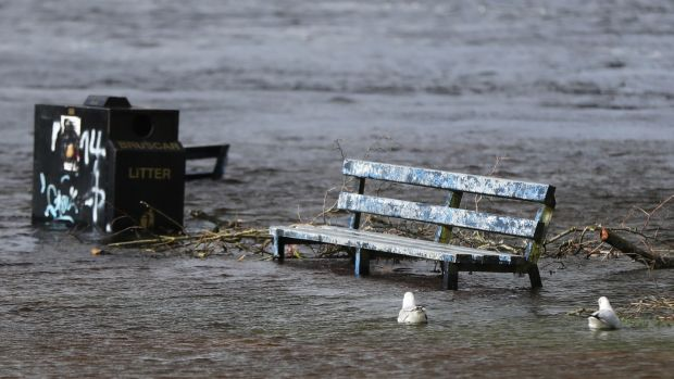 A park bench in flood water in Athlone, Co Westmeath. Photograph: Niall Carson/PA