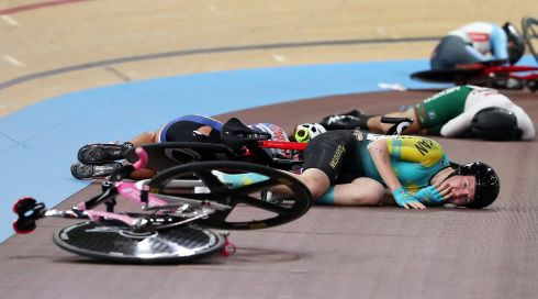 CYCLIST CRASH: Rinata Sultanova from Kazakhstan and other cyclists after a crash during a race at the UCI Track Cycling World Championships at the Velodrom in Berlin, Germany. Photograph: Focke Strangmann/EPA