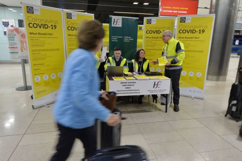 CORONAVIRUS CAMPAIGN: Public health staff from the HSE launching the public awareness campaign for Covid-19  in Terminal 2 at Dublin Airport. Photograph: Alan Betson/The Irish Times