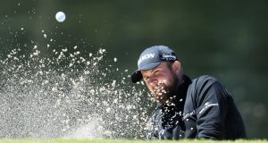Shane Lowry   plays a shot from a bunker on the sixth hole during the second round of the Honda Classic on Friday. Photograph:  Sam Greenwood/Getty Images