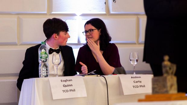 Eoghan Quinn with Aisling Carty, TCD Phil at the Irish Times Debate Finals at TCD. Photograph: John Ohle Photography