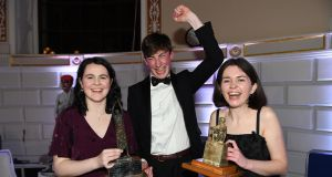 The Irish Times Debate 2020: Team champions Aislinn Carty and Eoghan Quinn of TCD Phil and individual winner Rachael Mullally of UCD Law. Photograph: Bryan Meade