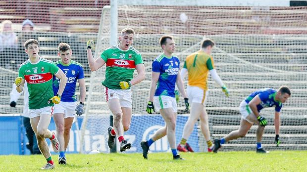 Eoghan McLaughlin celebrates scoring Mayo's goal . Photo: Tommy Dickson /Inpho