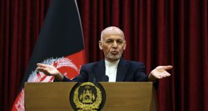 Afghan president Ashraf Ghani said  he won't release 5,000 prisoners the Taliban say must be freed before intra-Afghan negotiations can begin. Photograph: Rahmat Gul/AP