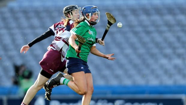 Sarsfields' Sheena Warde and Louise Dougan of Slaughtneil in the All-Ireland Club Championship Senior Camogie Final at Croke Park on Sunday. Photograph: Laszlo Geczo/Inpho