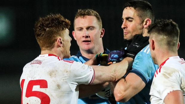 Tyrone's Conor Meyler and Dublin's James McCarthy scuffle on the pitch during their Allianz Football League Division 1 game at Healy Park, Omagh on Saturday. Photograph: Tommy Dickson/Inpho