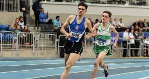 Andrew Coscoran of Star of the Sea AC, Co Meath, on his way to winning the Senior Men's 1500m event, ahead of Brian Fay of Raheny Shamrock AC, Dublin. Photograph:  Sam Barnes/Sportsfile