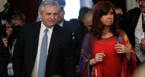 Argentinian President Alberto Fernandez and vicepresident Cristina Fernandez de Kirchner attend the ordinary opening session at the Congress, in Buenos Aires, Argentina. Photograph: Juan Ignacio Roncoroni/AFP.