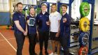 Dr Darragh Whelan, Dr Martin O'Reilly, and Julian Eberle of Output Sports  with Leinster Rugby players Dan Leavy and Adam Byrne.