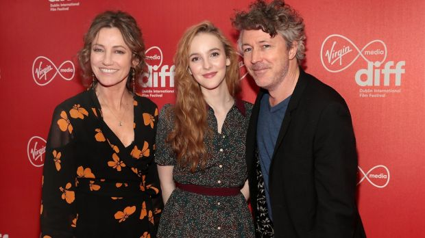 Actors Orla Brady, Ann Skelly and Aidan Gillen pictured at the Virgin Media Dublin International Film Festival Irish Premiere screening of Rose Plays Julie at the Lighthouse Cinema,Dublin. Photograph: Brian McEvoy