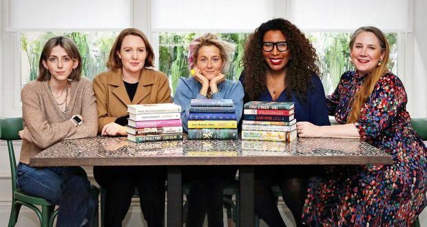 Judges Martha Lane Fox,   Paula Hawkins, Viv Groskop,  Melanie Eusebe and Scarlett Curtis with the 16 longlisted titles