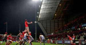 Munster's Gavin Coombes in action during Friday's win over Scarlets at Thomond Park:  Pro14 organisers have moved swiftly to state that, if there is no other option, postponed games would result in them being declared 0-0 draws, with two points for each team.  Photograph: Laszlo Geczo/Inpho