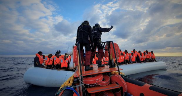 Migrants  are pictured during a rescue operation  off the coast of Libya in the Mediterranean Sea. Photograph: Hannah Wallace Bowman/MSF/Handout via Reuters
