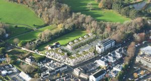 An aerial view of Cabinteely village with a computer generated image of the proposed residential scheme