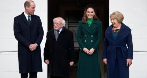 President Michael D. Higgins and his wife Sabina are pictured with  William and Kate, the Duke and Duchess of Cambridge, to Áras an Uachtaráin on Tuesday. Photograph: Colin Keegan/Collins.