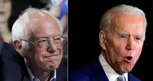 Democratic presidential hopefuls Vermont senator Bernie Sanders and former vice-president Joe Biden: A key test will be next week's primary contest in Michigan. Photographs: Timothy A Clary/Frederic J Brown