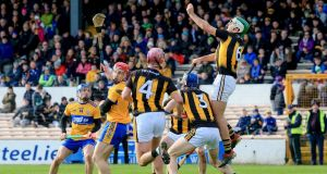 Paddy Deegan in action for Kilkenny against Clare. Brian Cody has handed game time to 34 different players during the course of the league. Photograph: Bryan Keane/Inpho