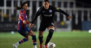 "Rianna Jarrett in action for Brighton against Crystal Palace. ""Obviously the opportunity to play full-time was fantastic and it was something that I was looking to do. But I'm not a 17 or 18-year-old kid, I'm 26 this year and I've been through a lot to get to where I am today."" Photograph: Alex Davidson/Getty Images)"