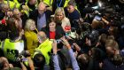 Sinn Féin president Mary Lou McDonald, vice-president Michelle O'Neill and Coiste Seasta member Ken O'Connell  arrive in the Dublin election count centre at the RDS during the recent election. Photograph: Crispin Rodwell