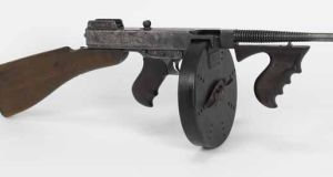 A Thompson submachine gun: The IRA were the first customers for the gun, designed in 1919 by Gen John T Thompson.