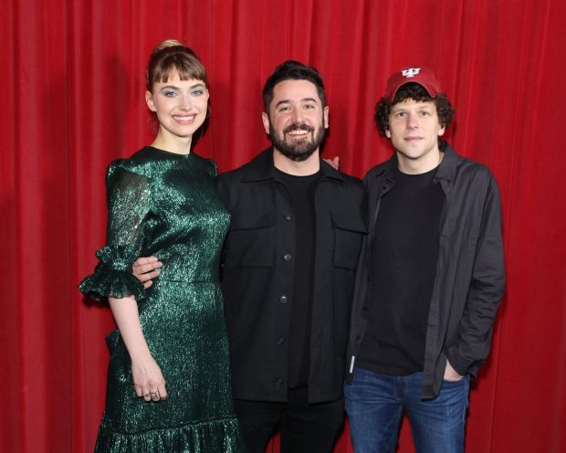"Imogen Poots, Lorcan Finnegan and Jesse Eisenberg attend the ""Vivarium"" photocall at Curzon Soho on February 21, 2020 in London, England. Photograph: Mike Marsland/WireImage/Getty Images"