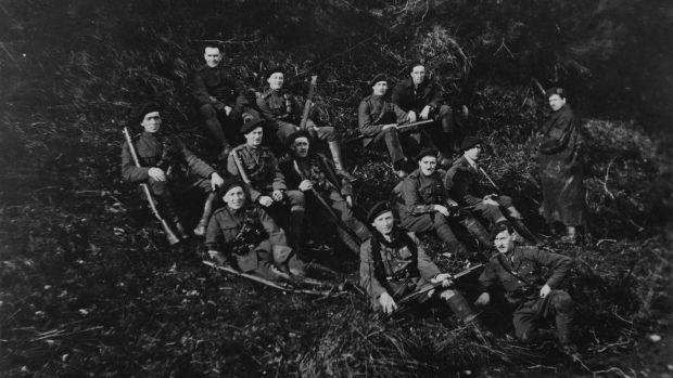 Men, possibly of the Royal Irish Constabulary, resting in the hills of Tipperary during the Irish War of Independence, 1921. From the AE Bell Collection. Photograph: Hulton Archive/Getty Images