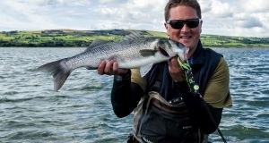 Angling journalist Henry Gilbey with a shore-caught bass. The new Inland Fisheries Ireland programme aims to show how fishing activities relate to stock levels