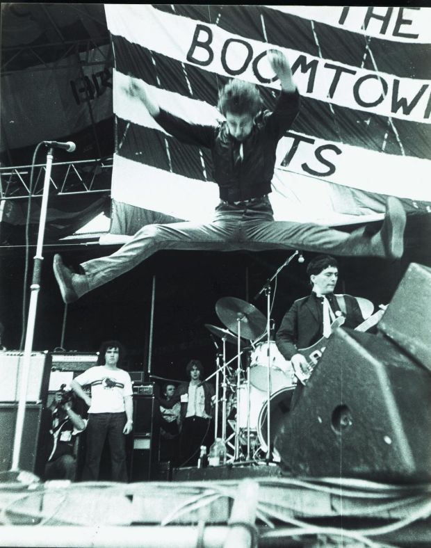 Bob Geldof mid-aid during a Boomtown Rats concert. Photograph: Terry Torph/The Irish Times